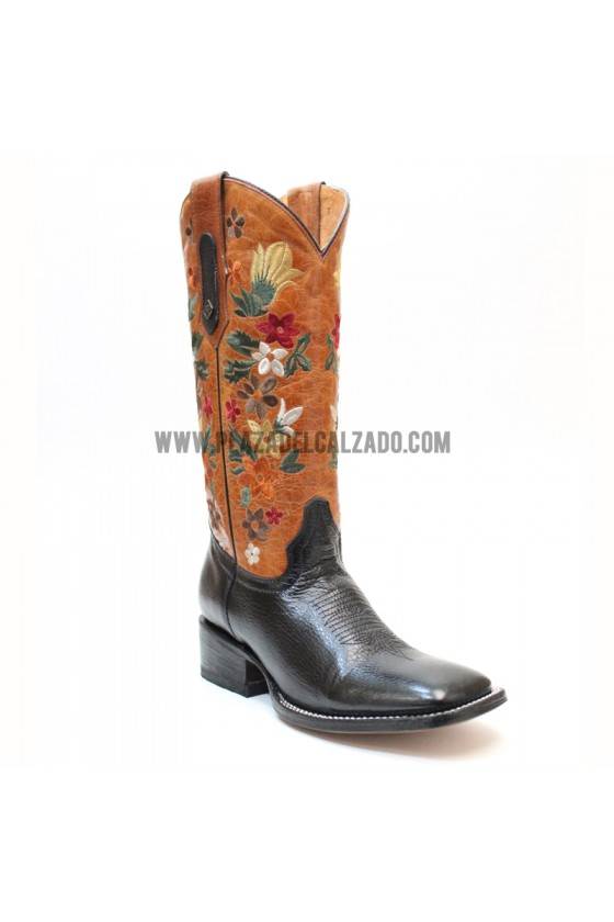 Women's Flower Black Rodeo Cowgirl Boots