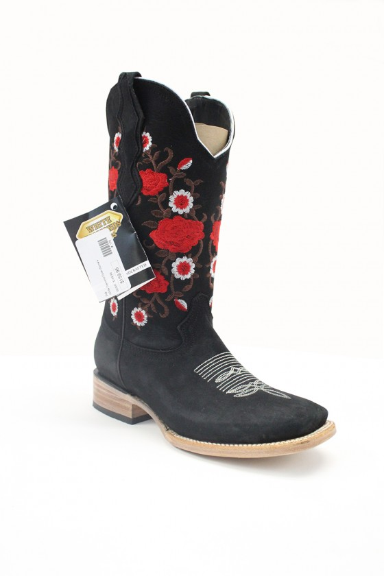 Women's Black Suede Flower...