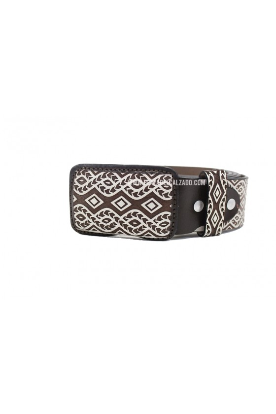 Men's Charro Belt Aztec Pattern Belt