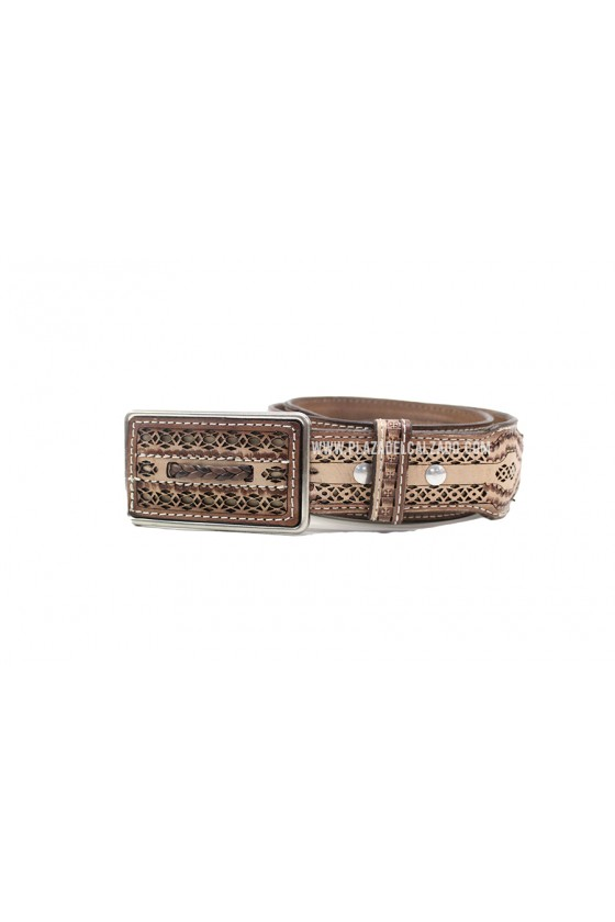 Men's Vaquero Belt Laser Cut Light Brown Pattern